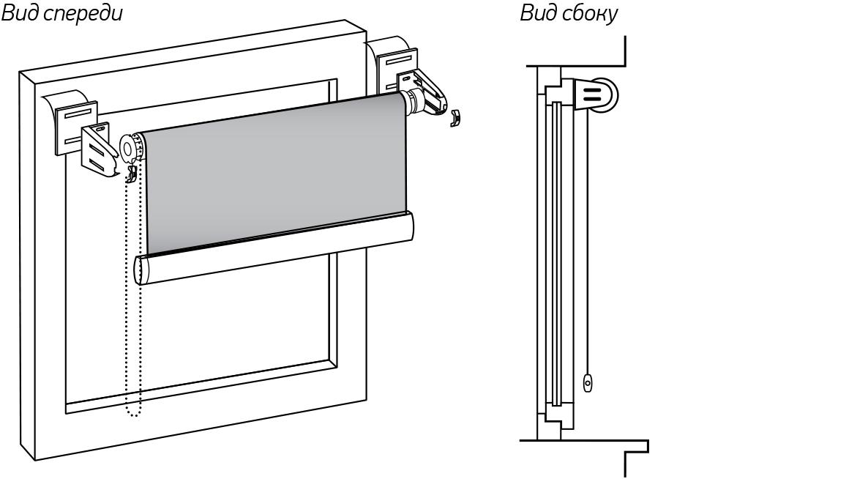 Установка рулонных шторы БЕЗ сверления - на скотч
